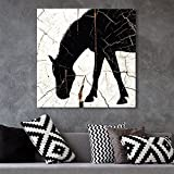 wall26 - Square Canvas Wall Art - Horse Silhouette Wood Effect Canvas - Giclee Print Gallery Wrap Modern Home Decor Ready to Hang - 24x24 inches