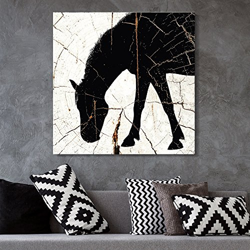Square Horse Silhouette Wood Effect