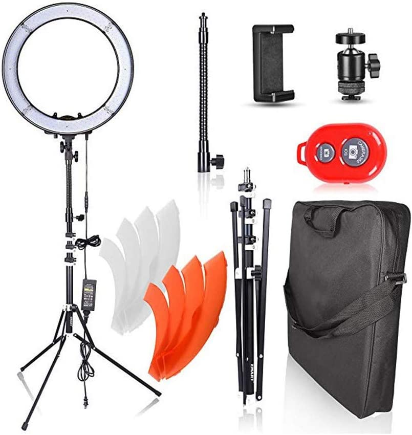 48cm Outer 55W 2700K-5500K dimmbar for YouTube Videos Portrait Photography RENYAYA 18 Selfie Ring Light with Tripod Stand Beauty Live Streaming Video Chat