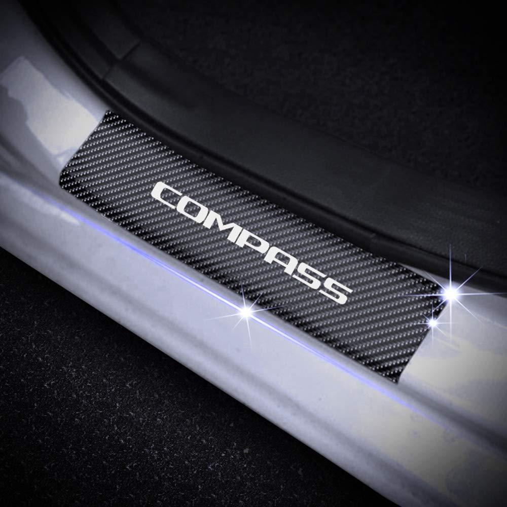 SENYAZON Compass Decal Sticker Carbon Fibre Vinyl Reflective Car Door Sill Decoration Scuff Plate for Jeep Compass red