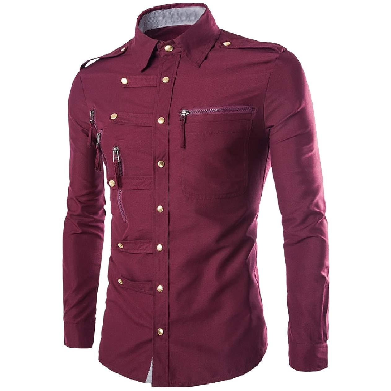 VITryst-Men Stitch with Zips British Style Long-Sleeve Back Cotton Shirts