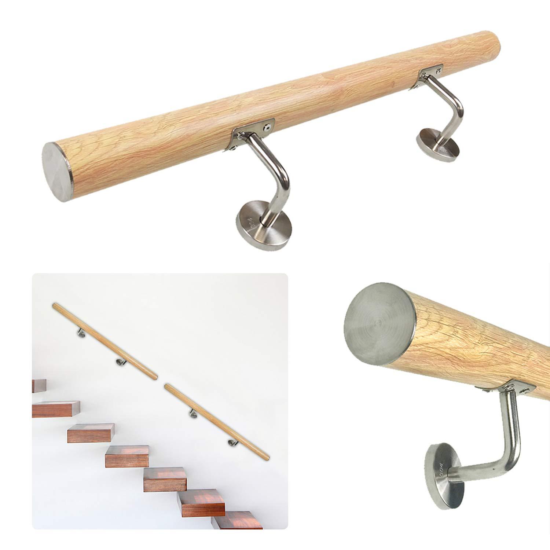 HENGMEI 100cm Main Courante en inox avec 2 fixations en acier inoxydable pour Escaliers avec connecteur motif bois somber