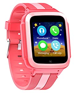 DanCoTek Smart Watch for Kids Boys Girls Unlocked 2G GSM Two Way Phone Call SOS Call Touchscreen Front Camera Games Learning Numbers (Rosy)