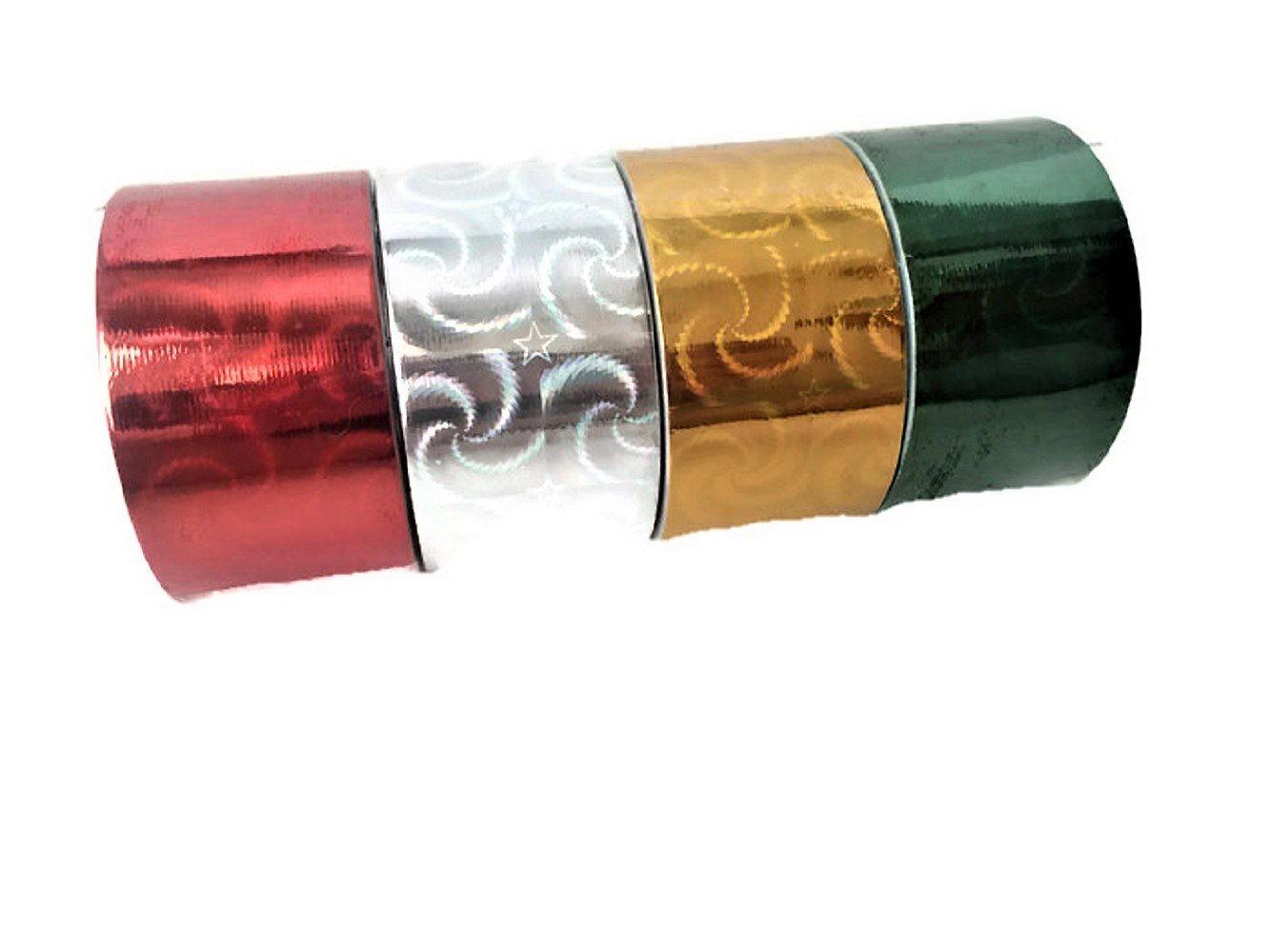 Holographic Metallic Reflective Style Duct Tapes, 4-roll Set