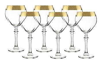 Vino órganos GS114 italiano Versace Copa de vino juego de 6 Set de regalo, oro: Amazon.es: Hogar