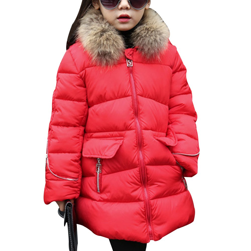 OCHENTA Kids Girls Boys Girls Winter Ruffle Hood Padded Coat Quilted Coat With Fur Trim Hooded FRTZ55-MCTS-03