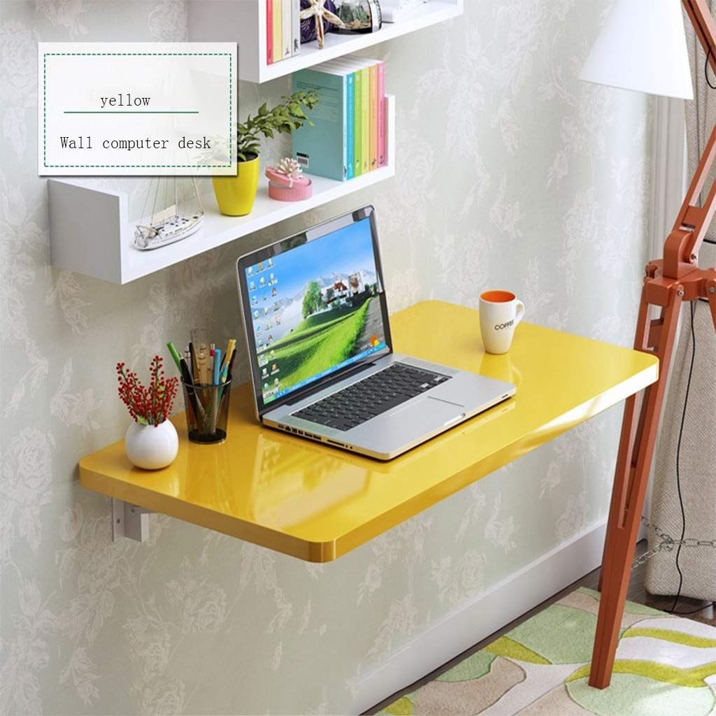 HQCC Wall Table, Folding Table, Wall Table, Folding Wall Computer Table, Wall Desk (80  40cm) (color   Yellow, Size   60  30cm)