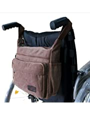Wheelchair Bag Wheelchair Canvas Bag Side Pouch Basket Storage Organizer Tote Pockets Mobility Devices Fits Most Walkers,Manual or Electric Wheelchairs