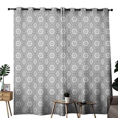 (duommhome Grey and White Bedroom Windproof Curtain Abstract Pattern with Lots of Angular Elements A Kaleidoscope of Forms Suitable for Bedroom Living Room Study, etc.W108 x L84 Grey and White)
