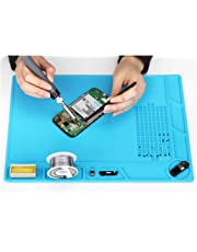 COHK Design 35x25cm Heat Insulation Silicone Pad Electrical BGA Soldering Repair Station Maintenance Platform with Screw Location Mat (Blue)