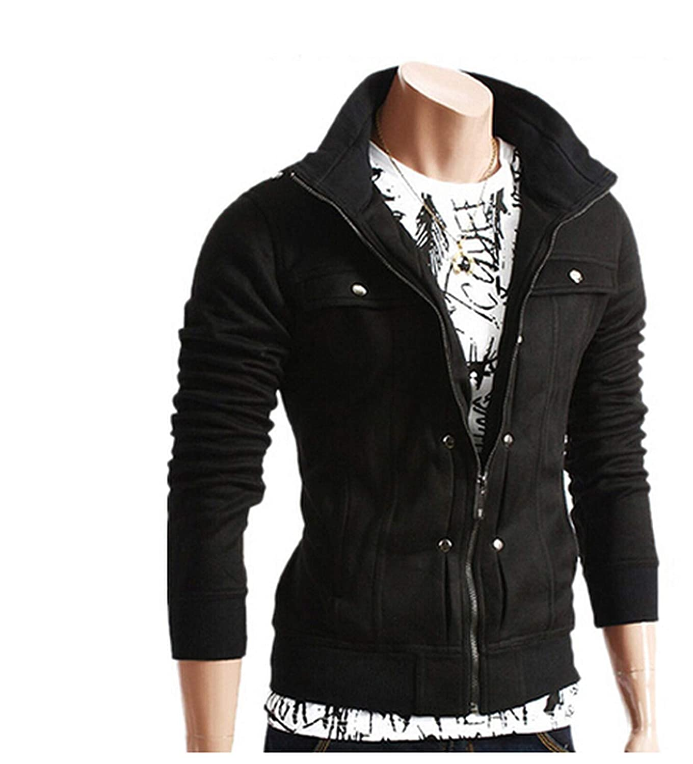 Aworth Casual Bomber Jacket Warm Stand Collar Coats and ...