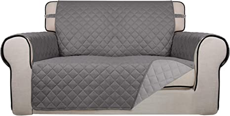 Amazon Com Purefit Reversible Quilted Sofa Cover Water Resistant Slipcover Furniture Protector Washable Couch Cover With Non Slip Foam And Elastic Straps For Kids Dogs Pets Loveseat Gray Lightgray Furniture Decor