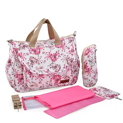 Abonnyc Stylish Baby Diaper Bag - Cotton Messenger Organizer Tote - Change Pad , Red Floral