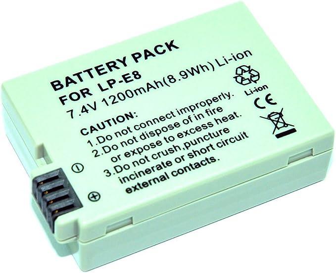 MP Power Reemplazo Batería LP-E8 LPE8 para Canon EOS 550D 600D 650D 700D Rebel T2i T3i T4i T5i T6i: Amazon.es: Electrónica