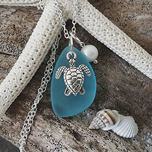 Handmade in Hawaii, Turquoise bay blue sea glass necklace, sea turtle charm, fresh water pearl, sterling silver chain, Hawaiian Gift, FREE gift wrap, FREE gift message, FREE shipping (Black Pearl Hawaii)
