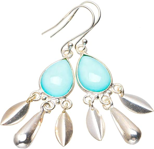 Natural Chalcedony Earrings 925 Sterling Silver Earrings American Seller RE-236 Chalcedony Gemstone Free Shipping