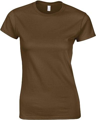 Gildan - Camisa Deportiva - para Mujer Marrón marrón: Amazon.es: Ropa y accesorios