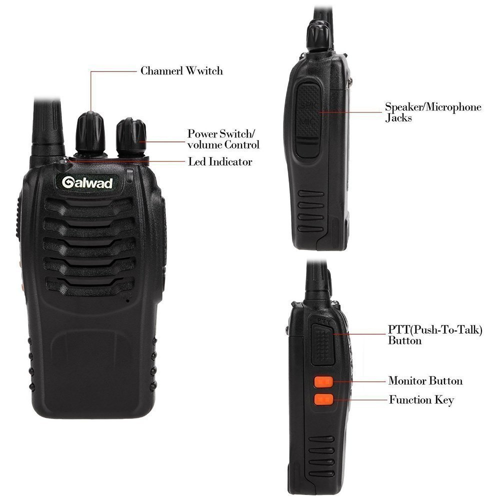 Walkie Talkie 16 Channels Long Range Two Way Radio 2pcs Radios Box Contain Two of Every Item (2 Radios,2 Rechargeable Batteries,2 Lanyards,2 Clips,2 Antennas,2 Chargers,2 Headphones,2 Manuals) by Galwad (Image #2)