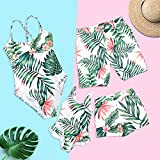 Mommy and Me Family Matching Swimsuit One Piece Beach Wear Summer Leaves Sporty Monokini Bathing Suit Girls: 3 Years White