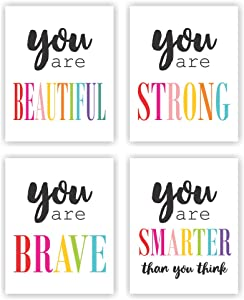 Unframed 8X10 Set of 4 Girls Room Typography Inspirational Quote Saying Beautiful Strong Brave Smart Watercolor Art Print Inspirational Wall Art for Kids Room Nursery Decor wgn220