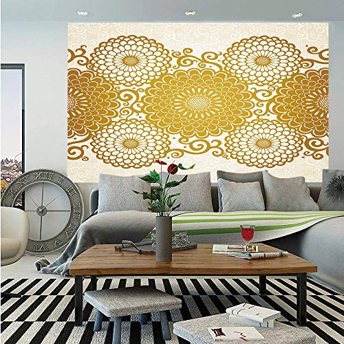 (SoSung Gold Mandala Removable Wall Mural,Border with Large Flowers and Curls Chrysanthemums Peonies Rococo Style,Self-Adhesive Large Wallpaper for Home Decor 66x96 inches,Eggshell Gold)