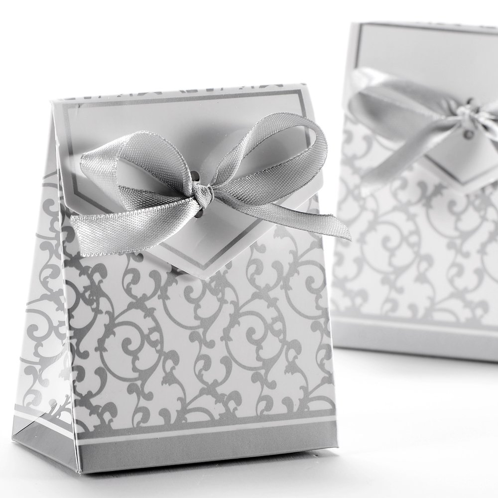 AKORD Wedding Favour Candy Gift Boxes with Ribbons 50pcs, Paper ...