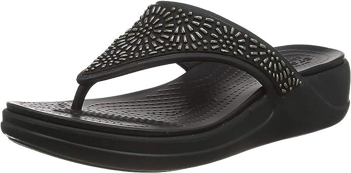 Crocs Women's Monterey Diamante Slip On Wedge | Wedge Sandals for Women | Flip-Flops