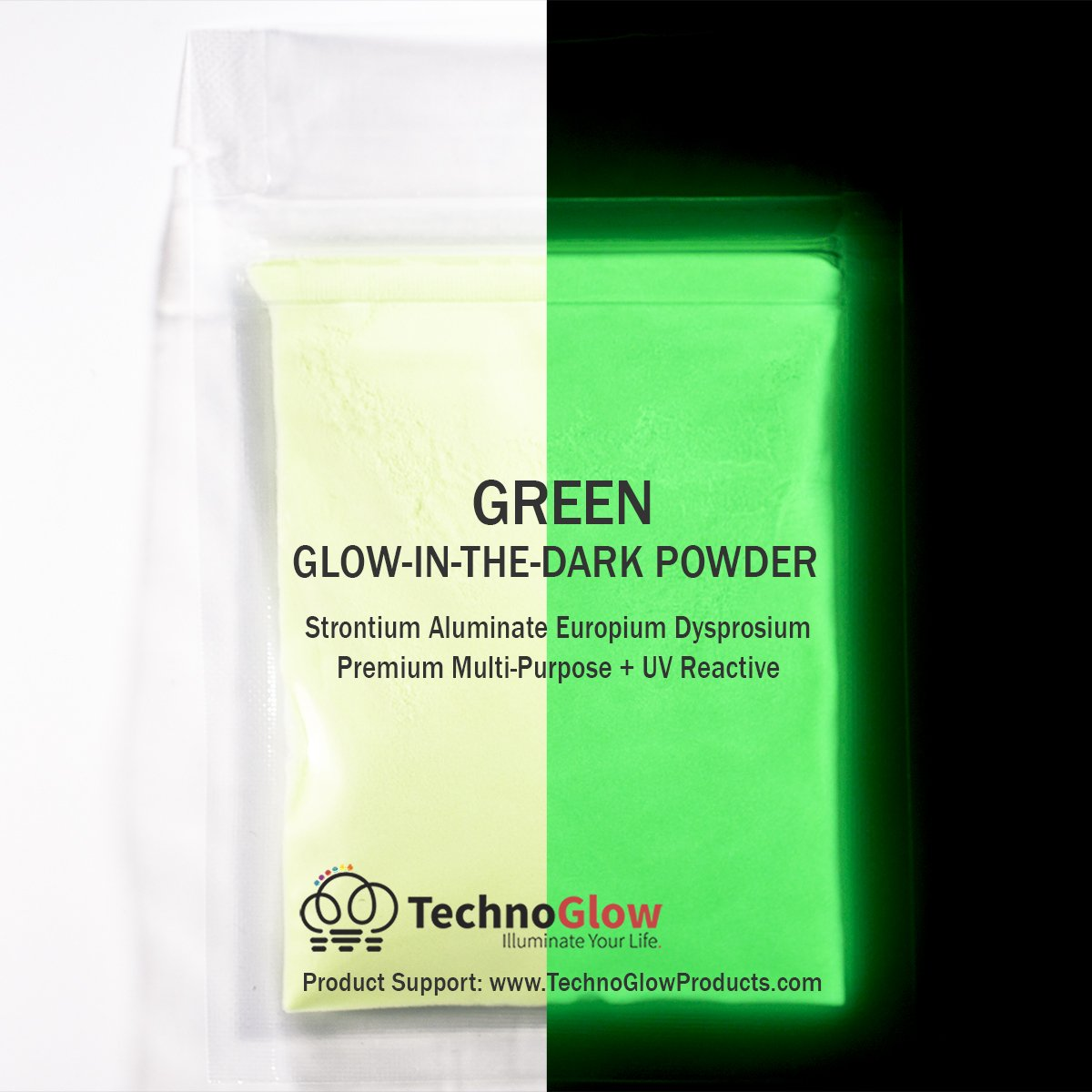 Green Glow in the Dark & UV Powder; 100-150 Microns (8 OZ) Techno Glow Inc P02-GRN-X
