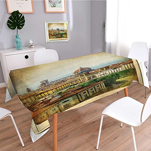 Outdoor Tablecloth,European Landmarks Series Vintage Card Florence,Decorative Washable Picnic Table Cloth