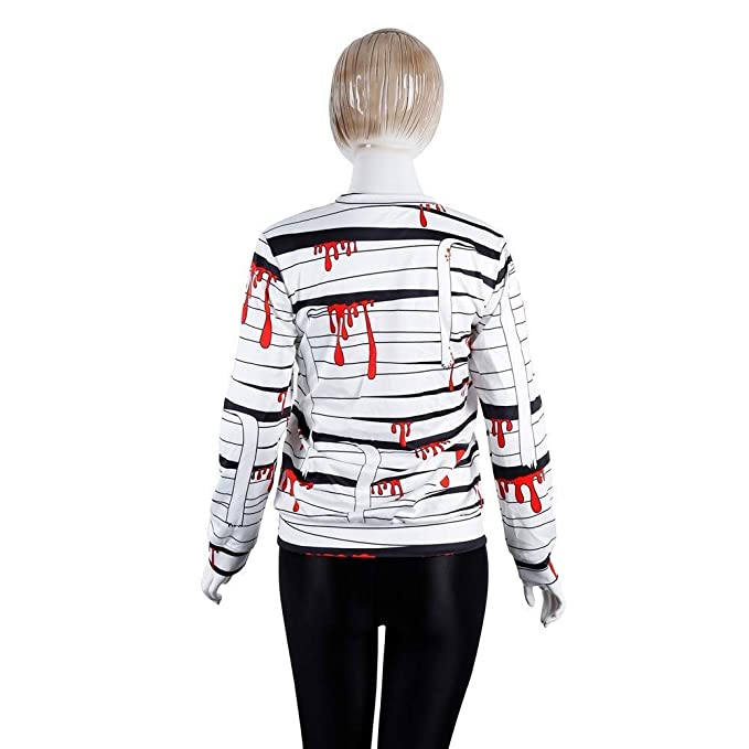 Amazon.com : 2018 Halloween Casual Sweatshirt Women Blood Bandage Print Party Long Sleeve Pullover Blouse : Sports & Outdoors