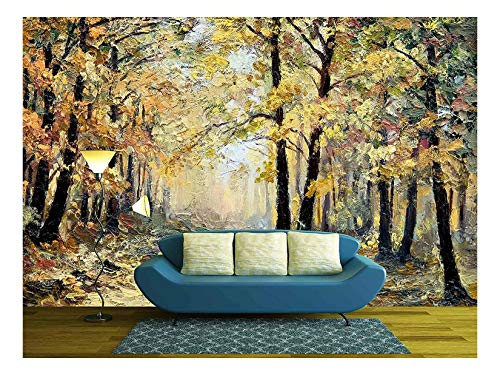 Oil Painting Landscape Autumn Forest Full of Fallen Leaves