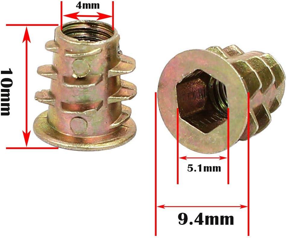 Aleaci/ón Zinc Insertos de Rosca M8*15mm Carpinter/ía Madera Kit de Herramienta de Surtido de Tuercas para Mueble de Madera 1 Pcs llave hexagonal CESFONJER 35 pcs//bolsa Rosca Hex Socket