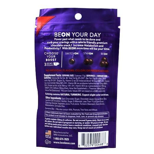 Amazon.com: BeOn - Energems Energy Gems Dark Chocolate - 6 Piece(s): Health & Personal Care