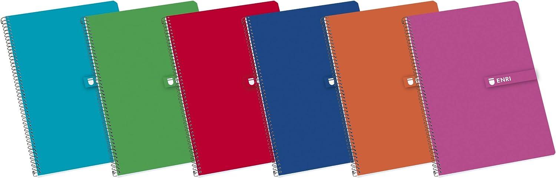 Enri 100430081, Cuaderno con cubiertas duras, 80 hojas, Medida A5, Colores surtidos, Paquete de 5