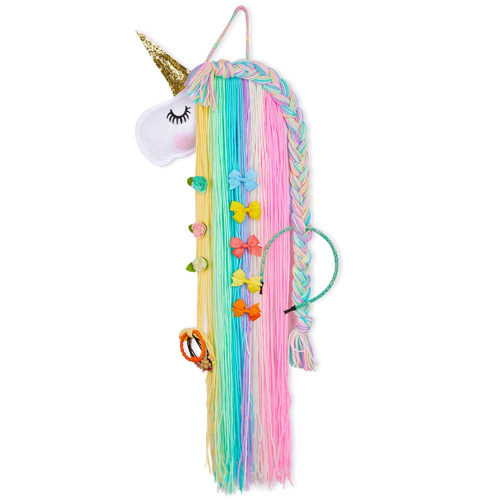 Basumee Unicorn Hair Bow Holder for Girls Wall Hanging Decor and Baby Hair Clip Hanger Organizer, Rainbow Unicorn