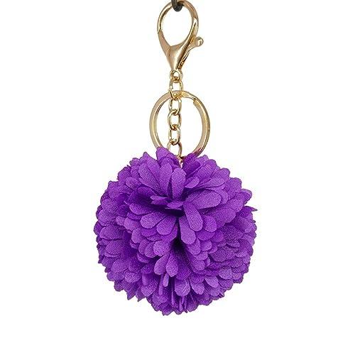 Amazon.com: maiyi color sólido seda bola de flores llavero ...