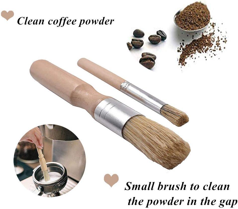 BagTu Grounds Cleaning Brush Accesorios para suministro de caf/é espresso para Bean Grain Coffee Grinder Clean Brush Set de 2