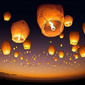Asian paper good luck flying lanterns