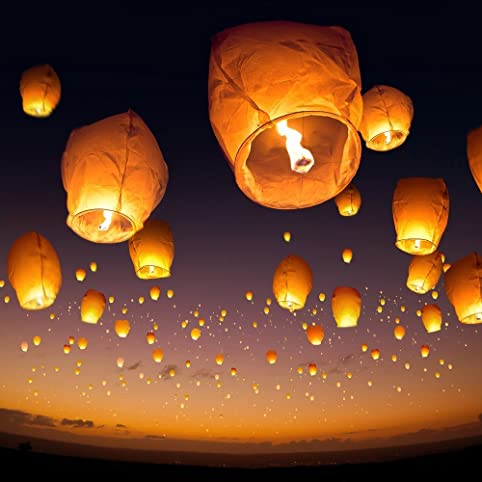 10 Sky Lanterns White Paper Lantern Lamps Amazon Com
