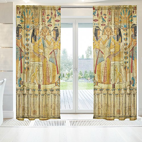 INGBAGS Old Egyptian Papyrus Voile Window Long Sheer Curtain 2 Panels Cat With Butterfly Scenery Print Tulle Polyester for Door Window Room Decoration 55x84 Inch ,Set of 2 ()