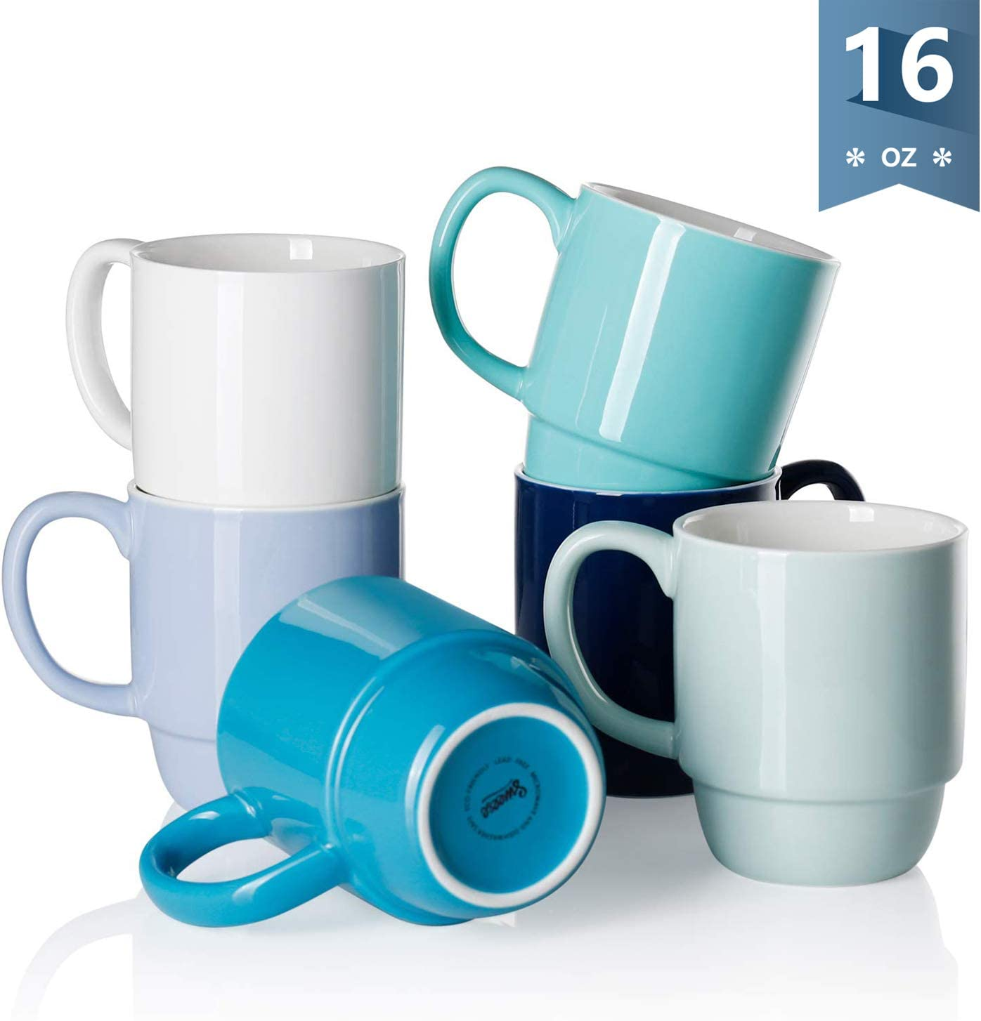 Sweese 605.003 Porcelain Stackable Mug Set - 16 Ounce for Coffee, Tea, Cocoa and Mulled Drinks - Set of 6, Cool Assorted Colors
