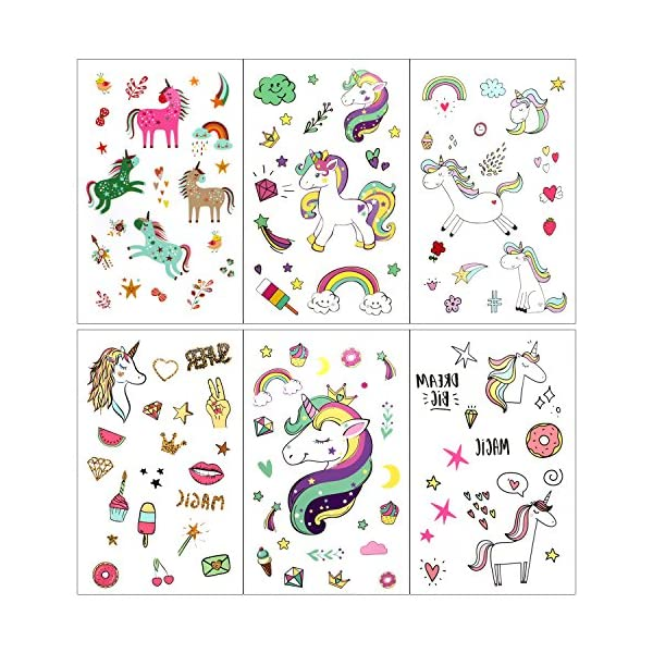 Unicorn Temporary Tattoos for Children Kids Girls(Over 300pcs),Konsait Great Girls Fake Stickers Rainbow Unicorn Birthday Party Favors Birthday Party Gift Bag Fillers 5