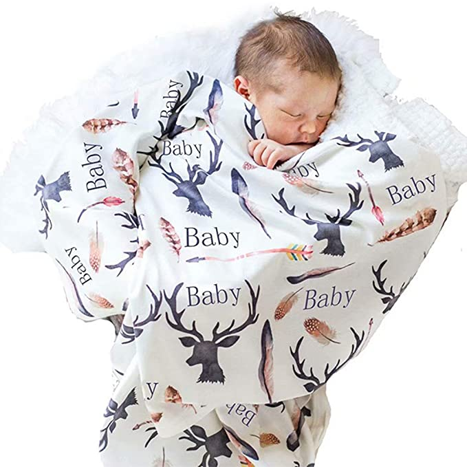 Newborn Infant Baby Boy Girl Deer Napping Swaddle Blanket Cotton Towel Wrap Hats