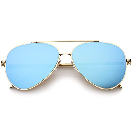 eaf1aa1e7d08 zeroUV - Mirrored Oversized Aviator Sunglasses for Women with Flat Mirror  Lens 58mm (Gold/