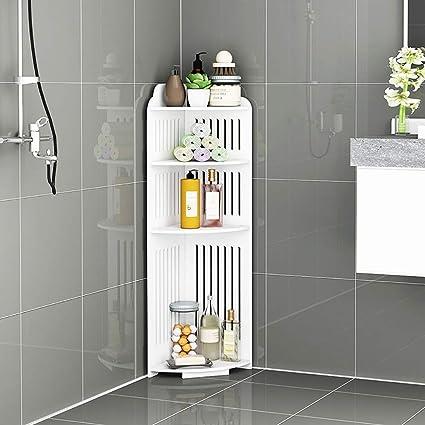 LOHOX Mueble Columna de Baño Estantería de Esquina de Ducha Armario para Baño Impermeable Estante de Almacenamiento Blanca sobre Patas para ...