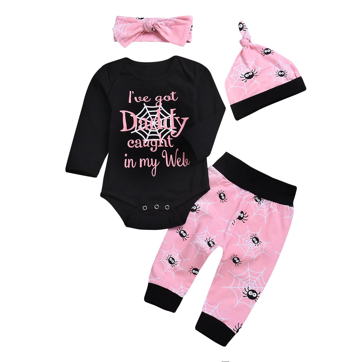 bels baby girls halloween outfit spider romper pink pants with headband and hat outfit setblack 0 6m70