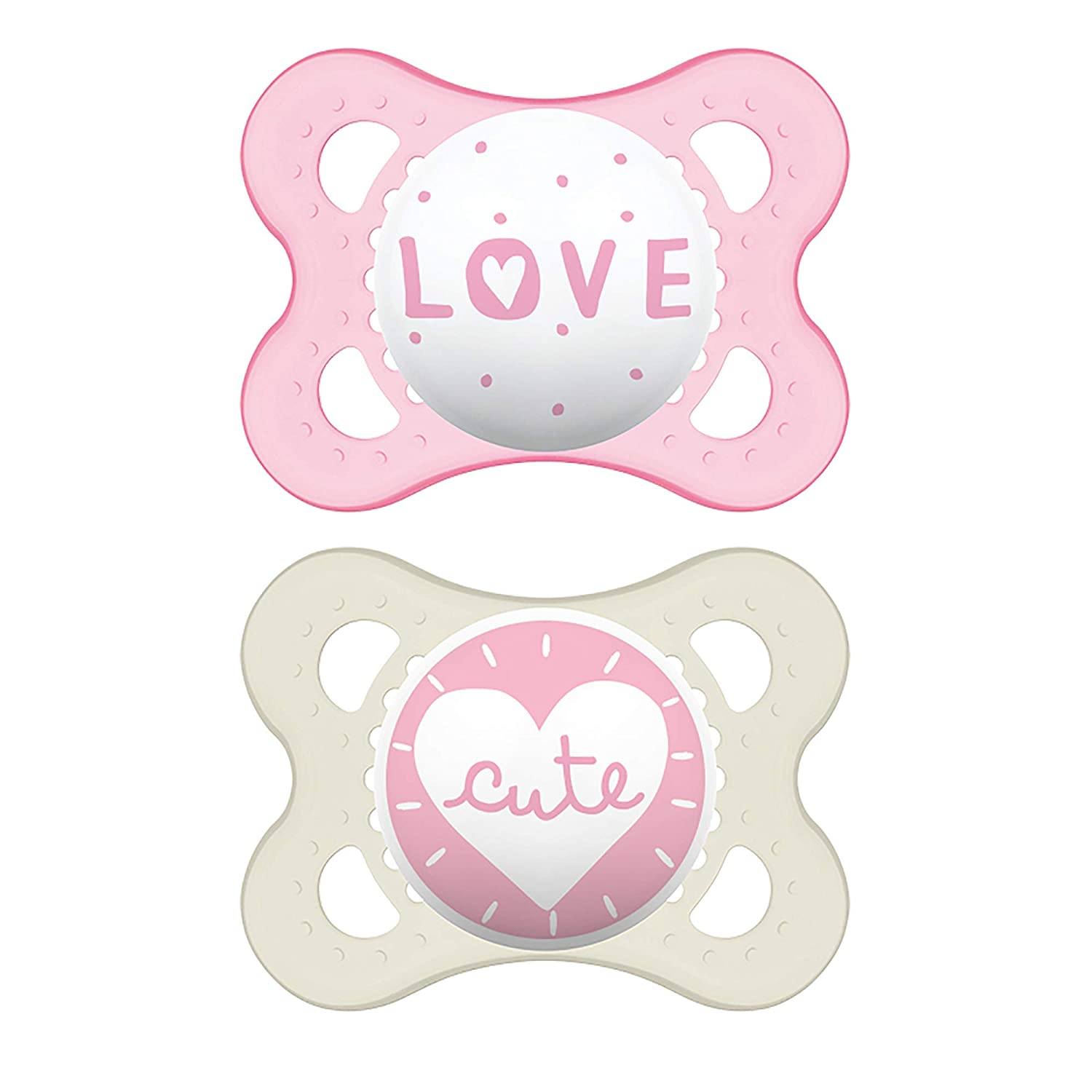 MAM Attitude Collection Pacifiers (2 pack, 1 Sterilizing Pacifier Case), MAM Pacifier 0-6 Months, Baby Girl Pacifier, Best Pacifier for Breastfed Babies, Designs May Vary