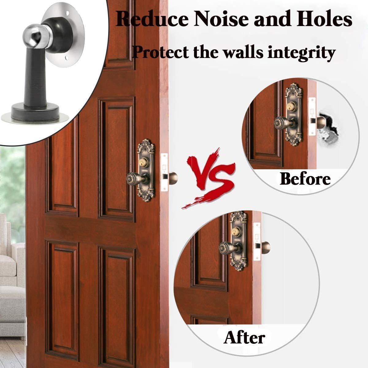 Screws for Stronger Mount Silver Stainless Steel Door Holder with Double Sided Sticker,No Drilling 2 Pack Magnetic Door Stop Catch Hold Your Door Open Door Stopper
