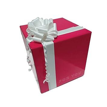 Caja de regalo original con lazo para regalo box cubo regalo magenta plastificada brillante: Amazon.es: Oficina y papelería