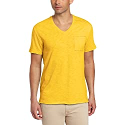Calvin Klein Jeans Men's Pieced Short Sleeve V-Neck Tee